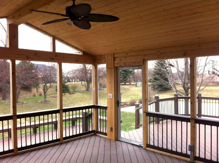 Screened Porch With Cathedral Ceiling By Aurora Il Porch