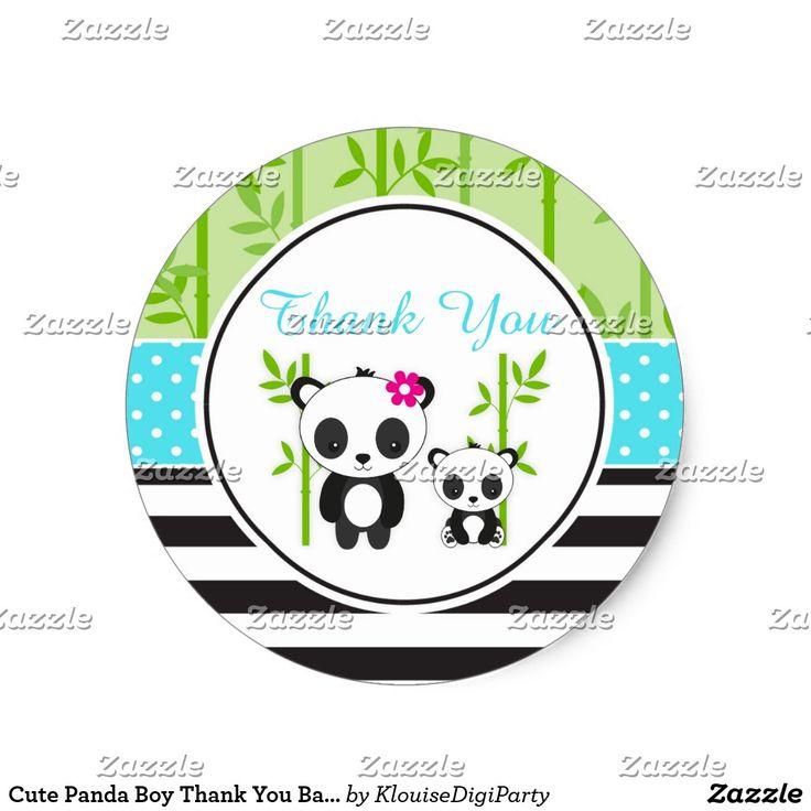 Cute Panda Boy Thank You Baby Shower Classic Round Sticker