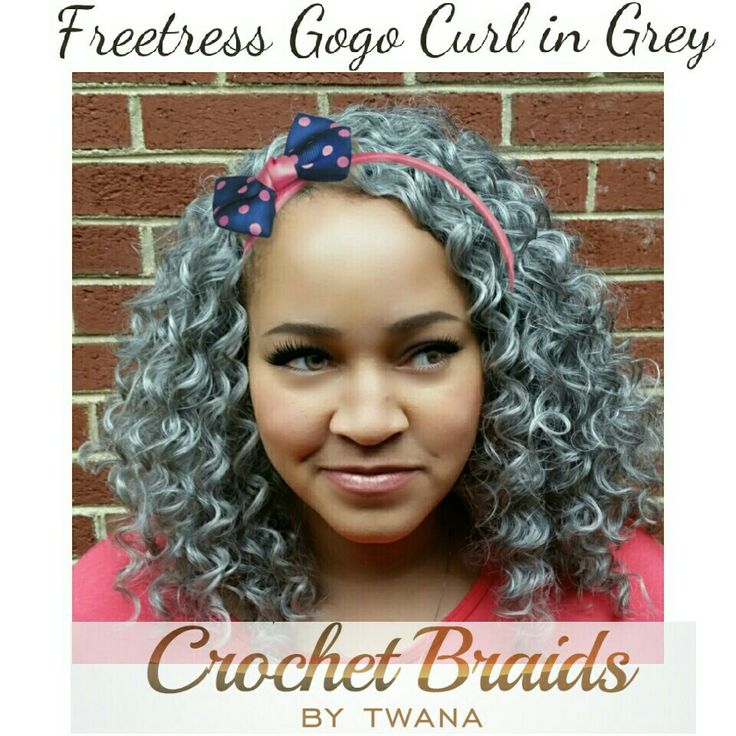 Crochet Braids With Freetress Gogo Curl In Color Grey