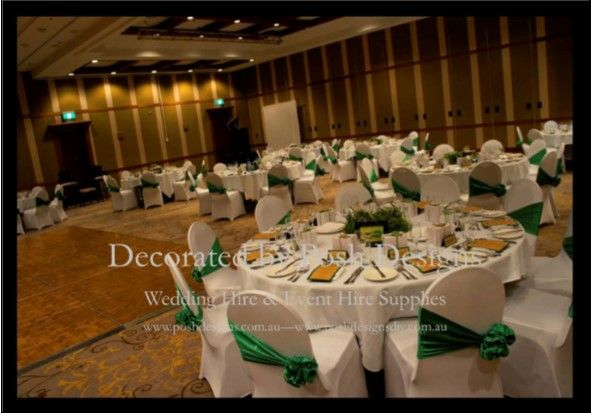 Green satin sashes, white lycra chair covers, white table cloths - #wedding and #event #theming available at #poshdesignsweddings - #sydneyweddings #countryweddings #southcoastweddings #wollongongweddings All stock owned by Posh Designs Wedding & Event Supplies - lisa@poshdesigns.com.au,  www.poshdesigns.com.au or www.facebook.com/poshdesigns.com.au #Wedding #reception #decorations #Outdoor #ceremony decorations #Corporate #event decoration