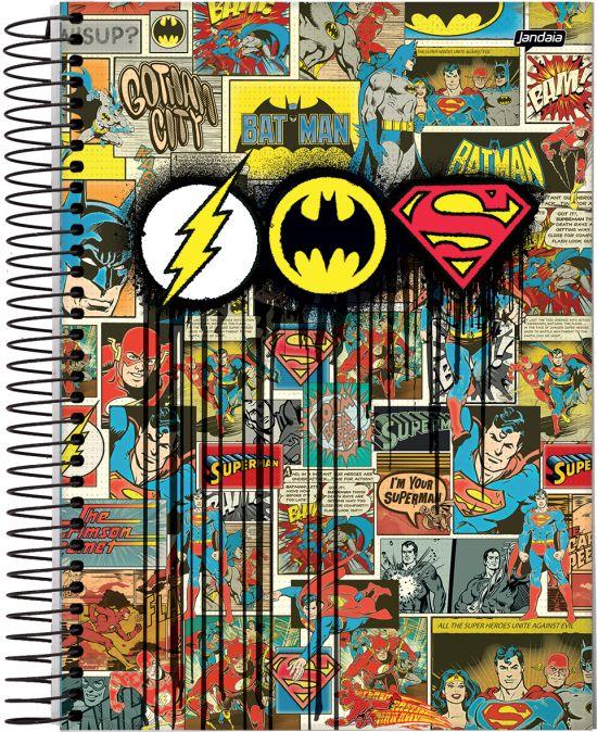 Caderno Espiral Universitário Capa Dura 1X1 96 Folhas -Dc Comics Batman, Super Homem, Flash VAC17 - Capa única