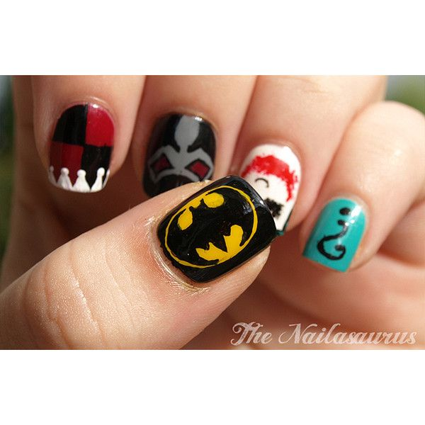 A Comic Book Manicure: Batman & Supervillain… | Bit Rebels, found on #polyvore. #batman nail polish