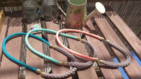 Double Rope long necklace from climbing cord in pastel by bizeli, €15.00