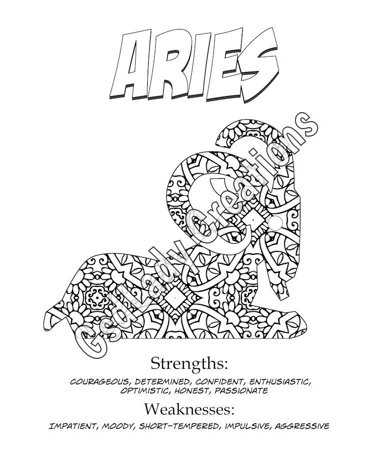 astrology print coloring page aries zodiac art by gsdladycreations