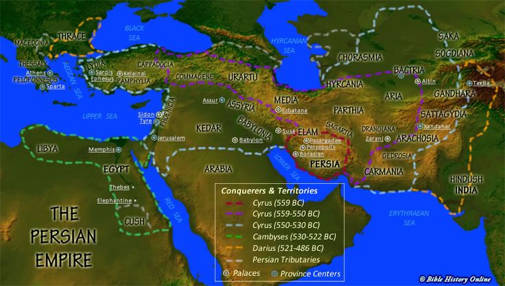 Map of the Persian Empire during Queen Esther and King Xerxes reign (see Bible, Book of Esther).