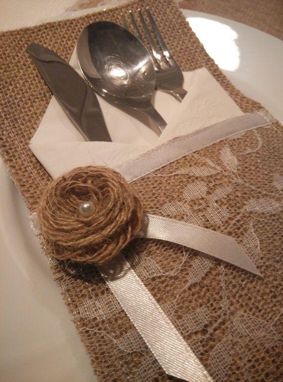 Burlap silverware holder white lace