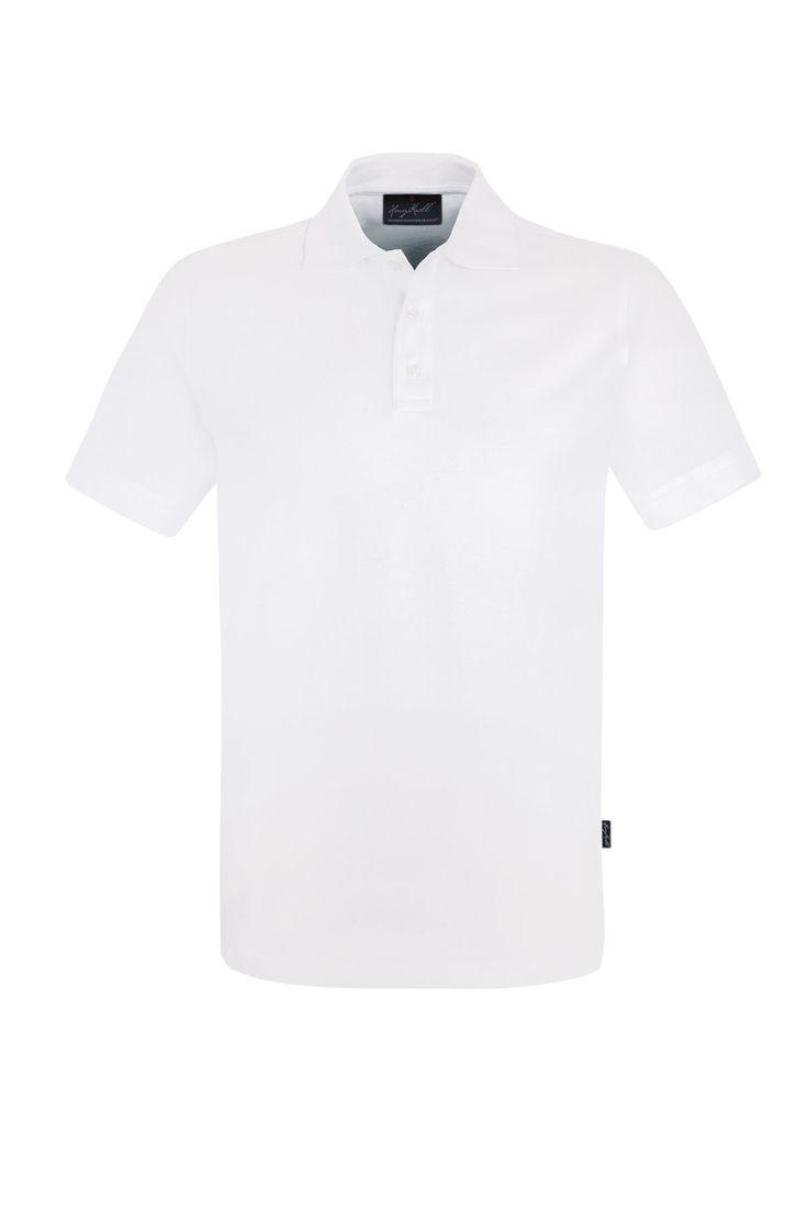Modisches Herren Poloshirt Weiß aus angenehm weichem und dehnfähigem Stretch-Piqué aus besonders feiner Baumwolle mit einem kleinen Anteil aus hochwertigem LYCRA. Knopfleiste mit drei extra haltbaren, bruchsicheren Knöpfen in Kontrastfarbe und einem Ersatzknopf.