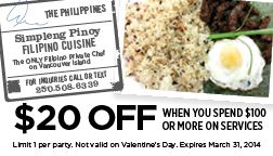 Simpleng Pinoy Private Chef Services on Vancouver Island - $20 OFF when you spend  $100 or more!