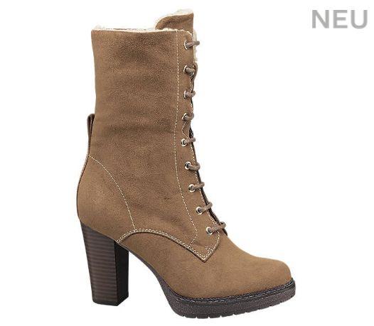 Artikelnummer: 1110391 Stylische Stiefeletten von Graceland mit Felloptikkragen für 34,90€.  Mit einem 6,2 cm hohen Blockabsatz und runder Spitze überzeugt der hellbraune Schuh in allen Alltagssituationen und passt zu allen Anlässen.