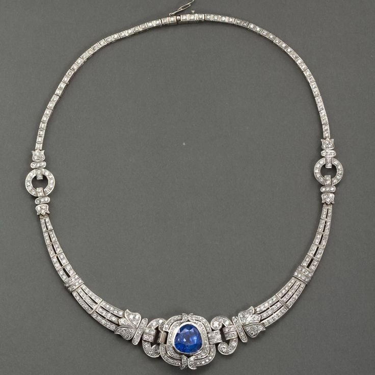 Art Deco Pear Shaped GIA Blue Sapphire Diamond Platinum Necklace | From a unique collection of vintage more necklaces at https://www.1stdibs.com/jewelry/necklaces/more-necklaces/