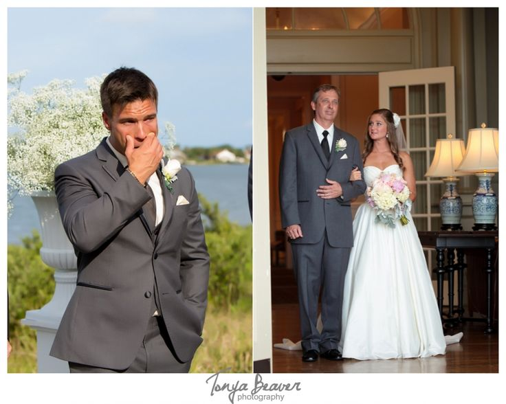 River House Wedding; Tonya Beaver Photography; St Augustine Wedding; groom reaction to bride; groom crying; bride and father