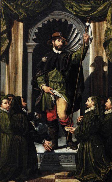 Giovanni Paolo Cavagna, St Roch and members of the [Confraternity of the] Disciplini Verdi, 1591, Bergano, Chiesa di San Rocco (originally one side of a processional banner)