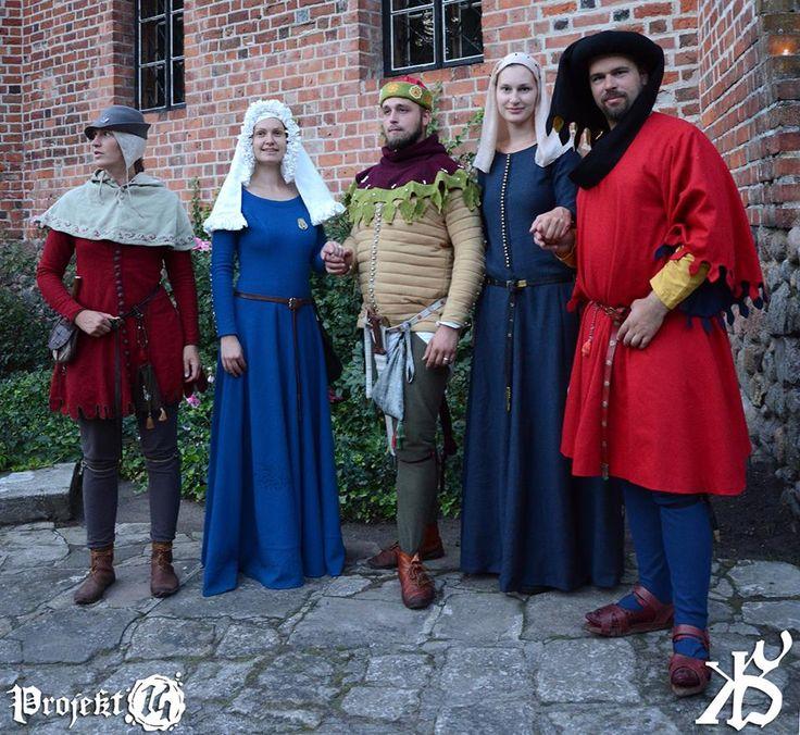 ubrania męskie : od lewej 1- jopula, 2 -przeszywanica , 3 - robe