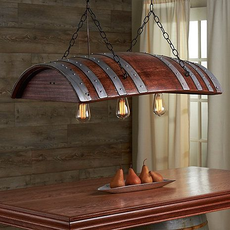 One Third Wine Barrel Hanging Light - Wine Enthusiast