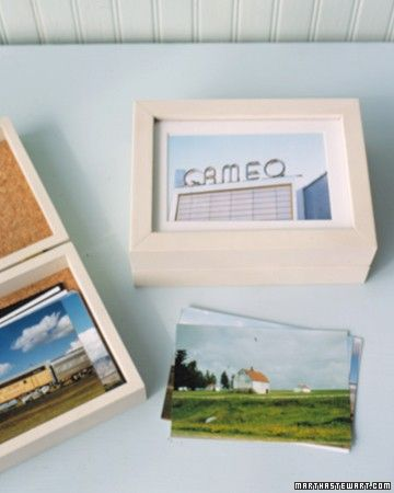 Store snapshots from a vacation or special occasion in a box that displays its theme on the lid.
