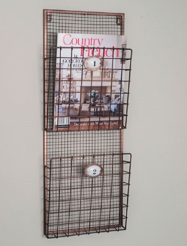 rustic modern copper grid pocket magazine file wall rack mounted wood mount bathroom white