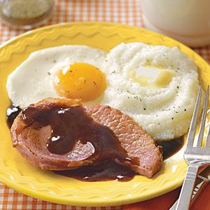 """Hamsteak and Eggs w/ Red Eye Sauce (a.k.a. coffee gravy): Picked up this recipe from the article """"Cookin' with Joe"""" in Men's Health."""