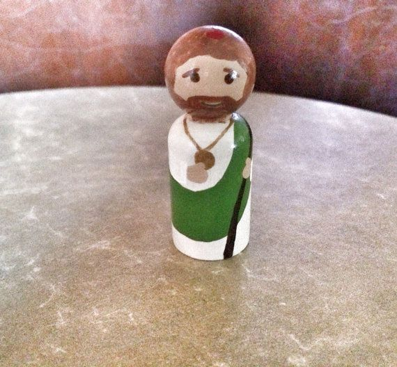St. Jude the Apostle hand painted wooden peg doll by SaintlyHeart