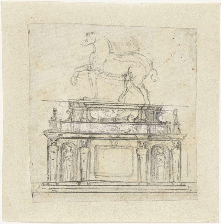 Ontwerp voor een ruiterstandbeeld van Hendrik II van Frankrijk, Michelangelo, 1559 - 1564