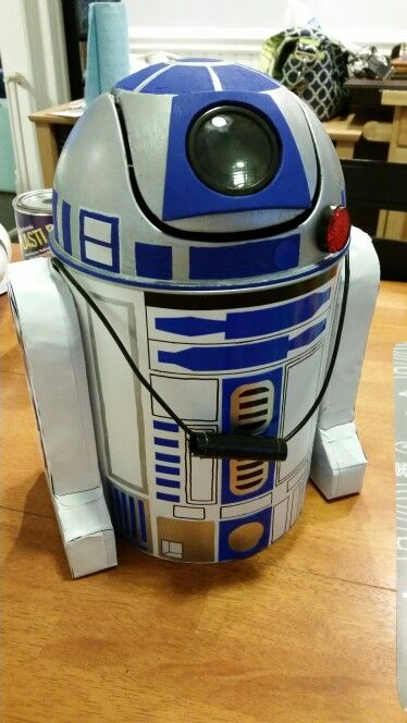 Star Wars R2-D2 Halloween Trick or treat bag made from a mini trashcan