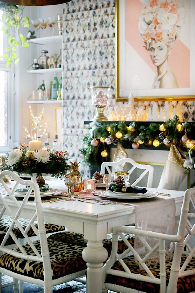 How to Create a Glam Christmas Table Setting on a Budget & 12 best images about Dinning Room on Pinterest | Ghost chairs ...