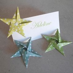 10 marques place etoiles en origami vert pour mariage - baptême - anniversaire -décoration de table de fête