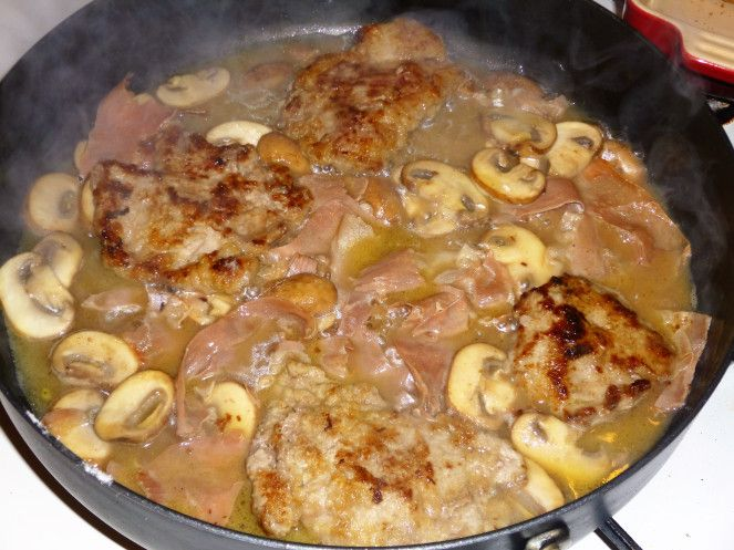 Veal Escalope's, Prosciutto and Mushrooms in a Vermouth Sauce with Sautéed Potatoes Recipe