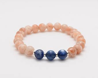 6mm Sunstone and Kyanite Mala Bracelet, Healing Bracelet, Chakra Bracelet, Stress Bracelet, Happiness Bracelet, Independence. Communication.