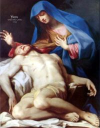 Mother of Sorrows envy's wrath pierced your heart/ Jesus bloodied on the road from agony's garden/ Your  dear Son crucified/ Priceless blood the price of my soul/ Pray I never lose my salvation/ won by such tears