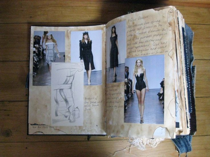 Fashion Sketchbook - layout of fashion images and sketchbook annotations