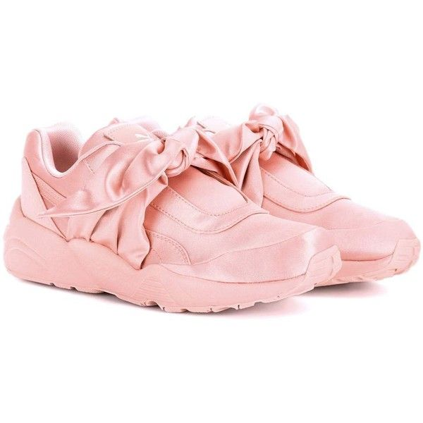 FENTY by Rihanna Satin Sneakers (£145) ❤ liked on Polyvore featuring shoes, sneakers, pink, pink satin shoes, puma footwear, puma sneakers, satin shoes and puma trainers