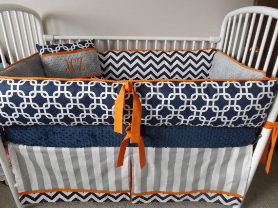 Navy Chevron, Gray and  Orange Baby bedding Crib set READY TO SHIP