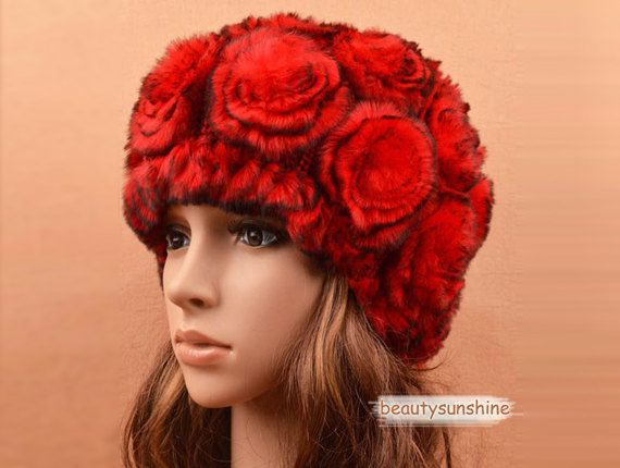 100% real Rex rabbit fur rose flower red hat red cap high quality headpiece 50 on Etsy, $32.69