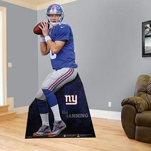 Hey you! If you're looking for the right New York Giants gift, Fathead has an amazing, life-size present that is brighter and more durable than any cardboard cutout, or life-size standup. Our Eli Manning Stand Out is perfect for a birthday, graduation, holidays or just because. This gift is one that a New York Giants fan will always remember. Player Name: Eli Manning, New York Giants Quarterback. $119