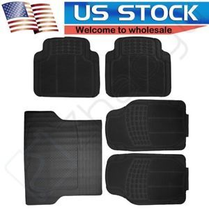 a black all weather rubber floor mats interior durable 5pc for lincoln cadillac