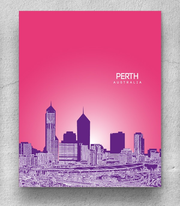 Perth Australia City Skyline / Hometown Wall Art Poster / Any City or Landmark. $20.00, via Etsy.