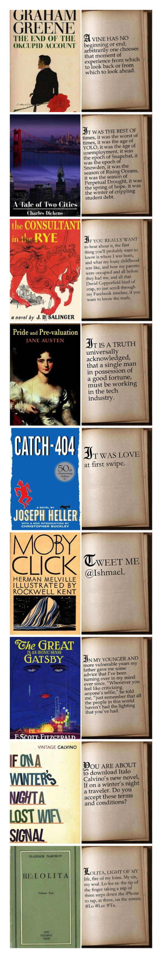 First lines from famous novels rewritten for 21st century / a hilarious project from BuzzFeed