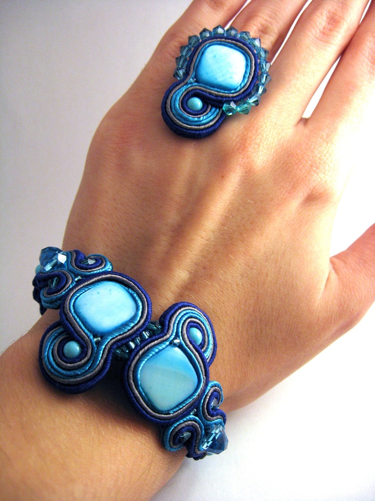Handmade Embroidered Soutache Bracelet. Bead Embroidery. Soutache Jewelry. Mother of pearl beads.Swarovski crystal beads.