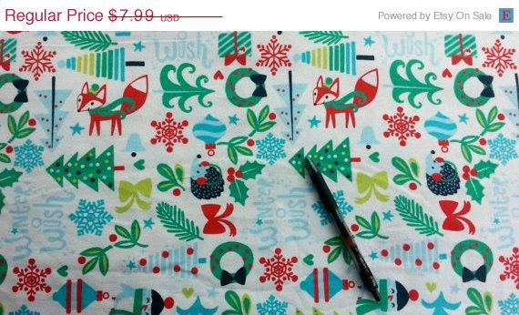 Christmas Flannel fabric with fox tree hedgehog snowman cotton quilt quilting sewing material to sew by the yard  crafts kids holiday