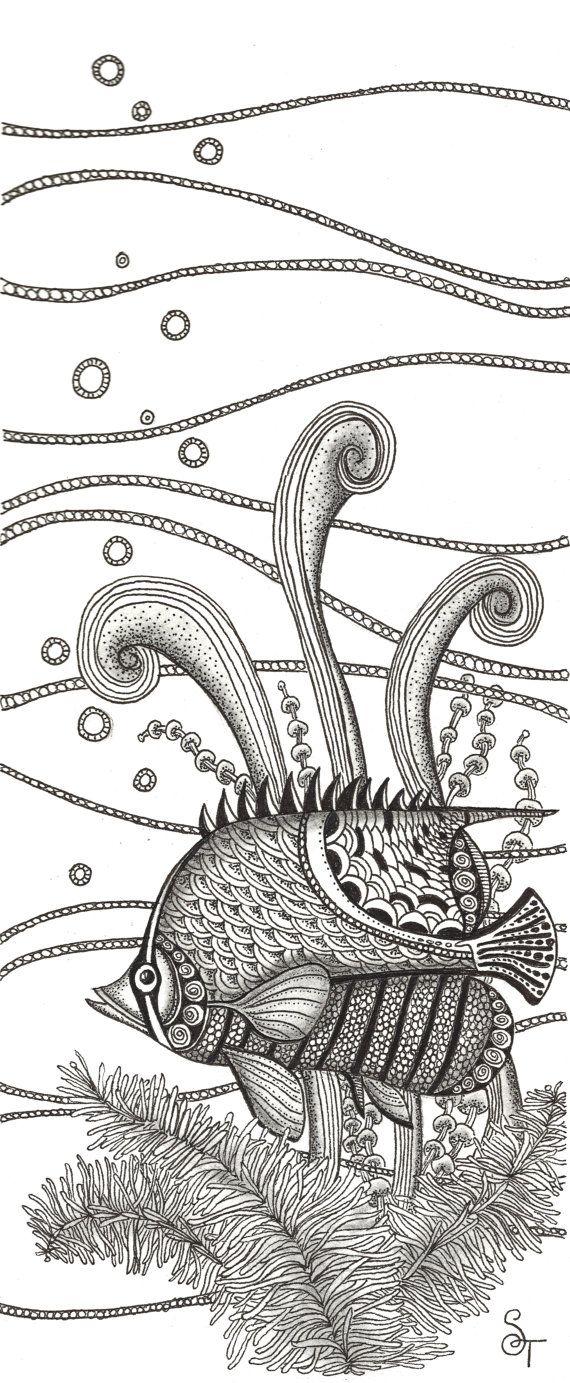 Print+of+black+and+white+Tangle+Fish+pen+by+CoastalFreshDesigns,+$20.00