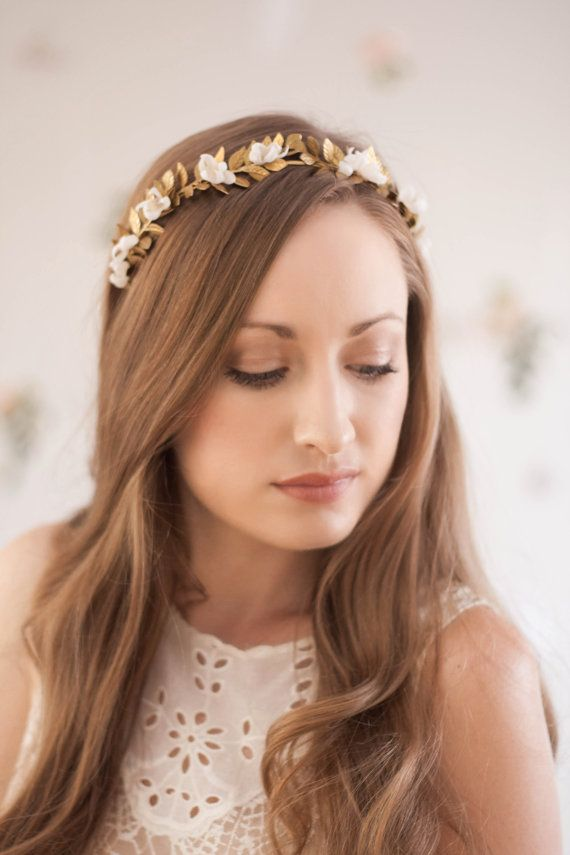 Greek Goddess Gold or Silver Flower Crown  - Classic Grecian Style - Handmade silk flowers with crystal bead centers - Hand wired to a gold or