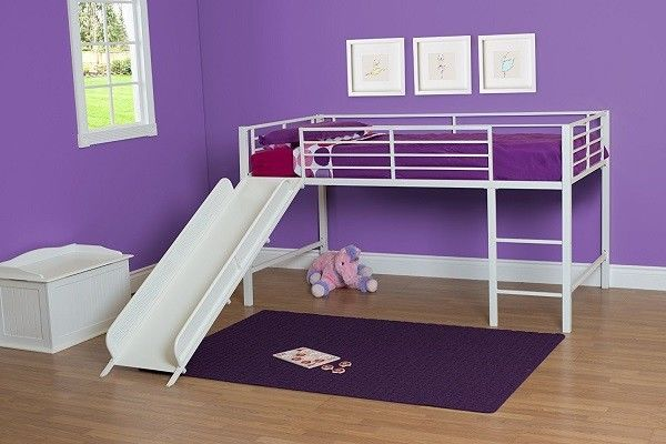 Kids Loft Bed With Slide Stairs Ladder Twin White Metal Low Bedroom Furniture #DHP #Modern