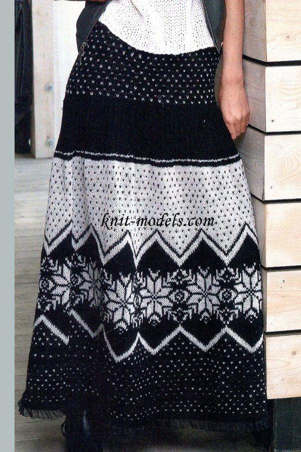 Длинная юбка с норвежским узором