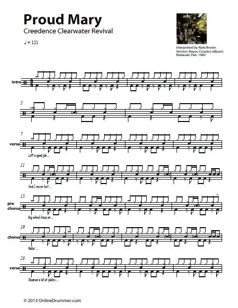 The Full Drum Sheet Music For Proud Mary By Creedence Clearwater Revival From Album Bayou Country
