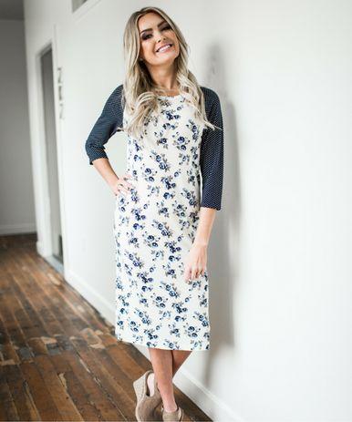 Jane - navy floral midi dress from Omika Australia.