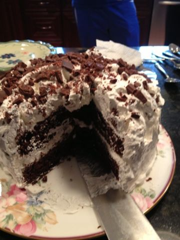 Hershey Bar cake... my sister gave me this recipe originally and it is one of my absolute FAVORITE cake recipes! Super easy and DELICIOUS! The icing makes it :)