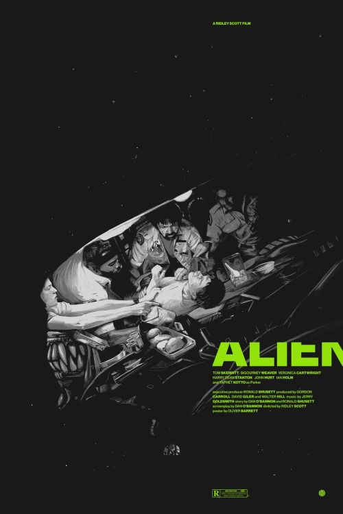 """kogaionon: """" Alien & Aliens by Oliver Barrett / Behance / Facebook / Twitter / Tumblr / Store 24″ x 36″ 5 color screen prints, limited AP editions. Available here. """""""
