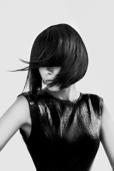 black and white photography artwork: hairstyle for leather look |Fashion + Photography|  Photo: Petros Mairoudniou |