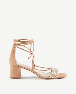 Beige and gold lace up sandals from Ann Taylor