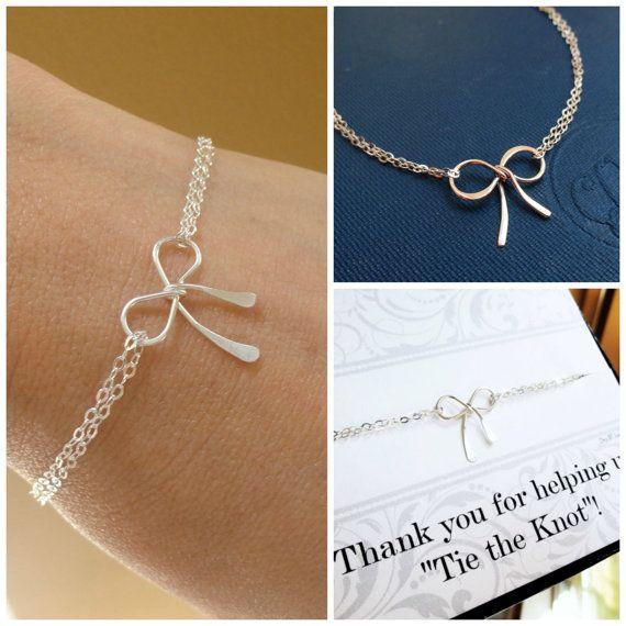 Tie the Knot bracelet Dainty silver bow bracelet by BriguysGirls